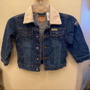 LEVI'S Boys Blue Jean Jacket Corduroy Collar Size 3T